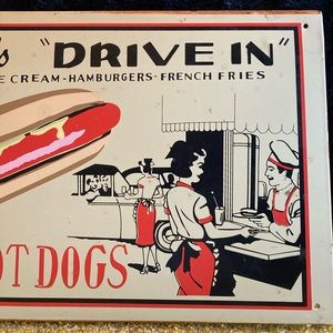 Vintage Wall Art - Vintage Reproduction Metal Drive In Sign